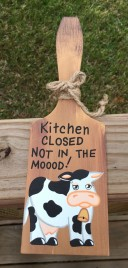 BP201 Butter Paddle Kitchen Closed Not in the Mood Cow Wood Paddle