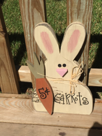 Carrots Five Cents Bunny Hanging Sign