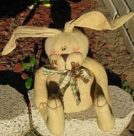 E634P - Fabric Bunny with Plaid Bow