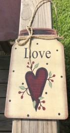 Primitive Decor Love w/berries and star Mason Jar