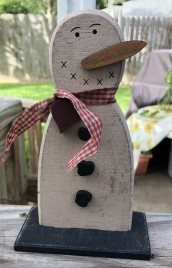 Primitive Snowman 33881 Wood on Base with Red Gingham Scarf