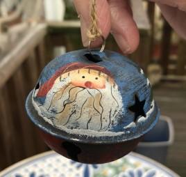 512-79408nb Blue Santa Bell Metal Christmas Ornament