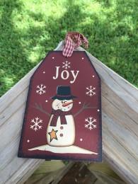 Primitive Wood Gift Tag 206-69483 Joy Black Snowman Tag Ornament