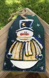 69705TGNB - Green Snowman Tag
