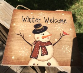 Primitive Wood Hanging Snowman 2426  Winter Welcome Sign