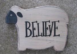 KLY60422 - Chunky wood Sheep-Believe