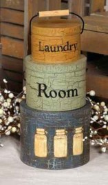 Primitive Nesting Boxes T7119-Laundry Room-Tin set/3