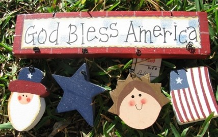 Patriotic Decor A104 - God Bless America Wood Sign