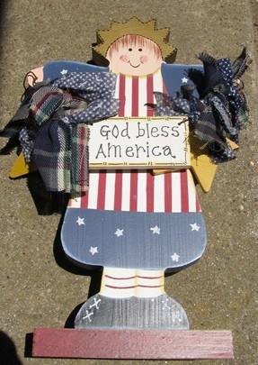 Patriotic Decor A110-God Bless America Girl on Wood Stand
