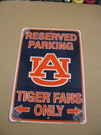 SP80029-Auburn Tigers Reserve Parking for Tiger Fans Only Metal Sign
