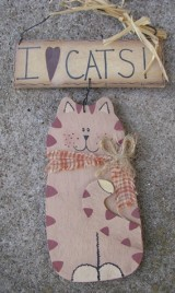 Primitive Hanging Cat CW0389 - I Love Cats