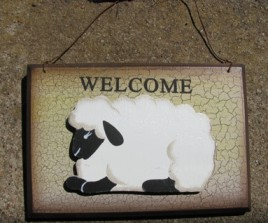 CWP-13 Welcome Sheep Crackled Sign