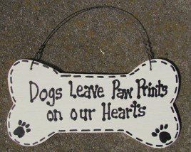 DB2 Dogs Leave Paw Prints on our Hearts Dog Wood Bone