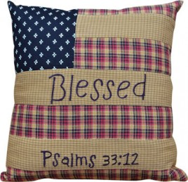 Primitive Pillow G05413-Pillow Patriotic Patch Blessed Psalm 33:12