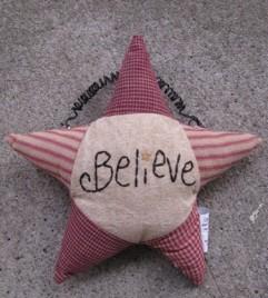 Primitive Decor GF181-Believe Star Hanging Ornament