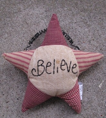 Primitive Decor GF181-Believe Star Hanging Ornament