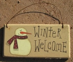 gr115ww - Winter Welcome Snowman wood sign