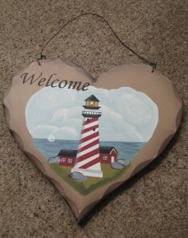 HP21- Welcome Lighthouse wood heart