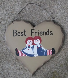 HP25 - Best Friends Andy and Annie Rag Dolls wood heart