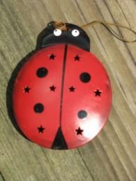 OR328- Ladybug Metal Christmas Ornament