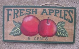 P18 - Fresh Apples 5 cents Wood Plaque
