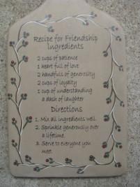 32194 Recipe for Friendship Ingredients Bread Board