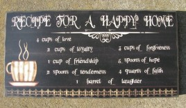 45372RC - Recipe for a  Happy Home wood Box Sign