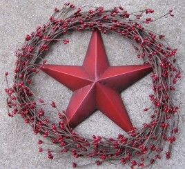 STW1- Vine Wreath with berries and Metal Star