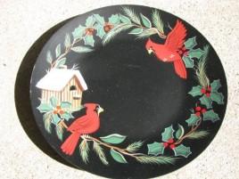 Primitive Wood Plate  Cardinal