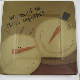 31492W - Snowman Plate We need to stick together