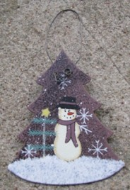 1102 - Metal Tree Snowman Ornament