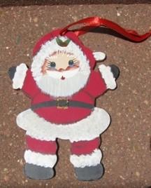1161 - Little Boy Santa Wood Christmas Ornament
