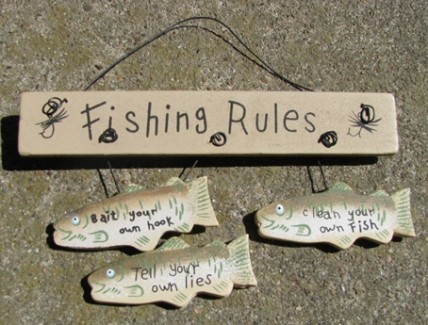 wd1195 - Fishing Rules Wood Sign