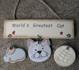 Wood Cat Sign 1200W - Worlds Greatest Cat Hangs by Jute