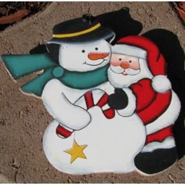 1304 - Santa and Snowman Wood Ornament