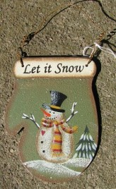 1394 - Let It Snow Green -Metal ornament