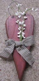 WD2094 - Burgundy Heart with white berries and green gingham checkered bow
