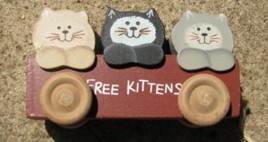 Wood Cat WD253 - Free Kittens in Wagon