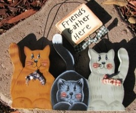 Wood Cat Sign WD270- Friends Gather Here Cats