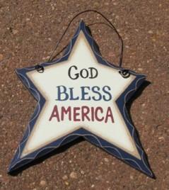 wd813 - God Bless America Wood Heart