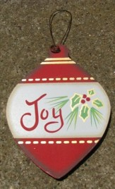 Wood Flat Ball Christmas Ornament wd851 - Joy Ornament