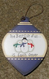 Wood Ball Christmas Ornament wd853 - The best Gift of all is Each Other